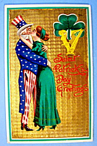 Saint Patrick Day Greeting Postcard w/Uncle Sam & Woman (Image1)