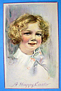 A Happy Easter Postcard with Blonde Haired Girl (Image1)