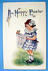 A Happy Easter Postcard with Girl & Butterfly (Image1)