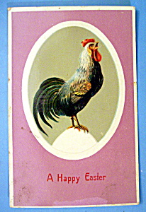 A Happy Easter Postcard with Rooster on a Egg (Image1)