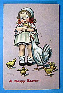 A Happy Easter Postcard By Tuck's w/Young Girl & Chick (Image1)