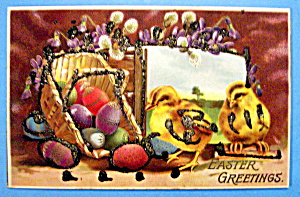 Easter Greetings Postcard w/Chicks Standing by Basket (Image1)