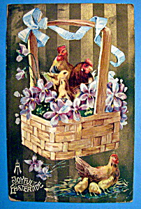 A Joyful Eastertide Postcard with Roosters & Chicks (Image1)