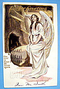 Easter Greetings Postcard w/Angel Sitting on a Rock (Image1)