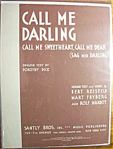 Sheet Music For 1931 Call Me Darling