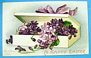 A Happy Easter Postcard w/Box of Flowers By Clapsaddle (Image1)