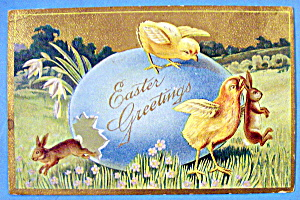 Easter Greetings Postcard w/Chicks & Rabbits (Image1)