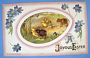 A Joyful Easter Postcard with 4 Chicks Running in Field (Image1)