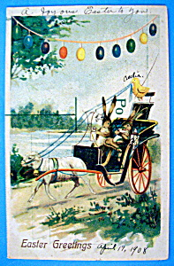 Easter Greetings Postcard w/Rabbit Driving a Carriage (Image1)
