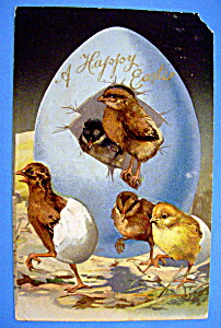 A Happy Easter Postcard w/Embossed Design of 4 Chicks (Image1)