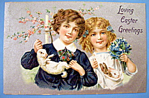 Loving Easter Greetings Postcard By Tuck's (Boy & Girl) (Image1)