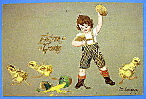 Easter Greeting Postcard with Boy Throwing Eggs (Image1)