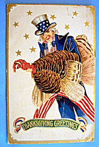 Thanksgiving Greetings Postcard w/Uncle Sam & Turkey (Image1)
