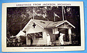 Red Cross Building, Jackson County Fair Postcard