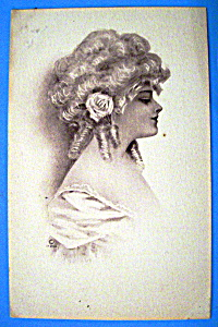 Beautiful Woman Postcard (Side View Of Lovely Woman) (Image1)