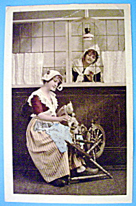 Woman On A Spinning Wheel Postcard (Image1)