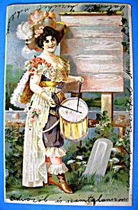 Beautiful Woman Playing Drum Potcard (Image1)