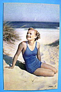 Beautiful Woman On The Beach Postcard (original) (Image1)