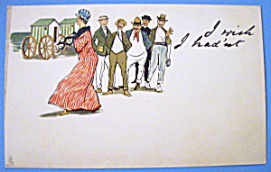 Write Away Postcard By Tuck's W/lady In Red Walking