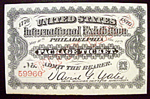 Philadelphia Package Ticket (Centennial Exposition) (Image1)