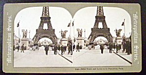 Eiffel Tower & Entrance to Exposition Stereo Card (Image1)