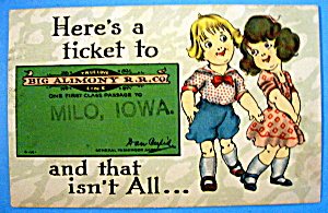 Big Alimony R. R. Co. Milo, Iowa Postcard