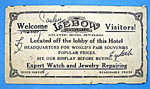 Lebow Jewelry Co., Panama Pacific Exposition Trade Card