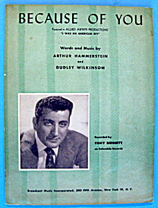 Sheet Music For 1940 Because Of You (Tony Bennett)