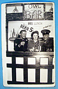 Picture Postcard Of Two Soldiers In Bar Scene-San Diego (Image1)