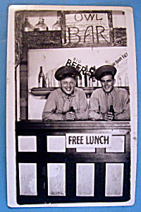 Two Soldiers In Bar Scene Postcard (San Diego Park) (Image1)
