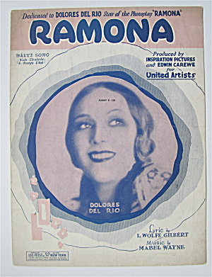 Sheet Music For 1927 Ramona