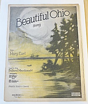1918 Beautiful Ohio Song Sheet Music By Mary Earl