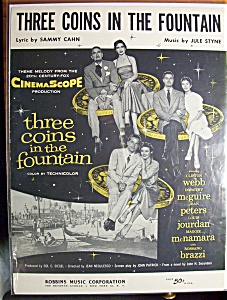 Sheet Music For 1954 Three Coins In The Fountain