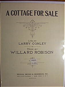 Sheet Music For 1930 A Cottage For Sale