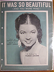 Sheet Music-1932 It Was So Beautiful(And You Were Mine)
