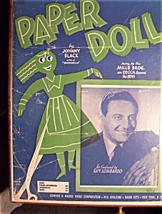 Sheet Music For 1942 Paper Doll-sung By Mills Brothers