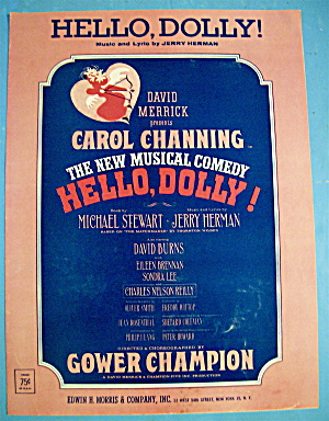Sheet Music For 1963 Hello, Dolly (Carol Channing)