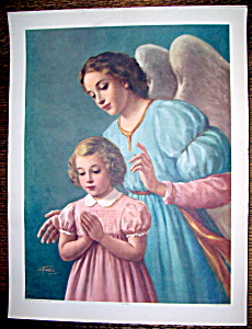 Print Of Guardian Angel With Little Girl-1940's (Image1)