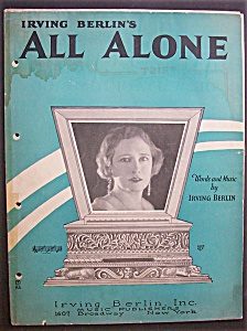 Sheet Music For 1924 Irving Berlin's All Alone