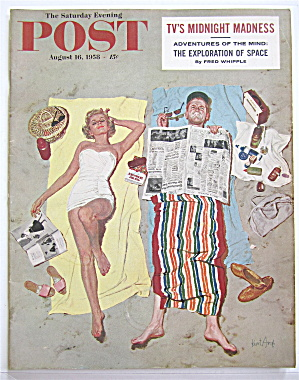 Saturday Evening Post August 16, 1958 Woman On A Beach