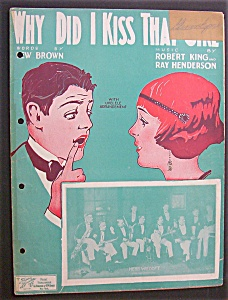 Sheet Music For 1924 Why Did I Kiss That Girl