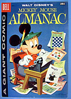 Mickey Mouse Almanac Comic Cover #1 1957