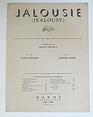 1945 Jalousie (Jealousy) Sheet Music