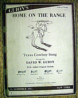 1930 Home On The Range (Texas Cowboy Song)david W Guion