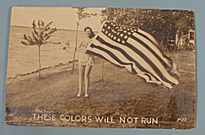 Woman Holding the American Flag Postcard (Image1)