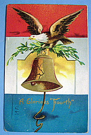 An Eagle On A Tree Branch With A Hanging Bell Postcard