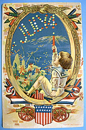 Postcard Of Fourth Of July (Very Colorful & Embossed)