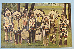 Ready For The Pow-wow Postcard (Group Of Indians)
