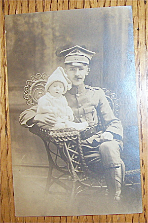 Vintage Photo Military Man Holding His Child Postcard