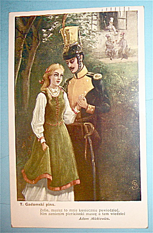 T. Gadomski Pinx Postcard With Soldier & Woman (Image1)